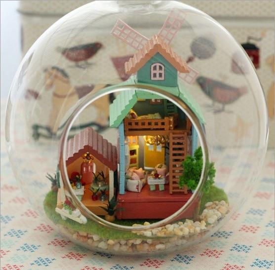 B007 Мельница DIY стеклянный шар кукольный Дом деревянные модели дома, 3D Головоломки Кукольный Домик miniaturas Куклы Для Дома