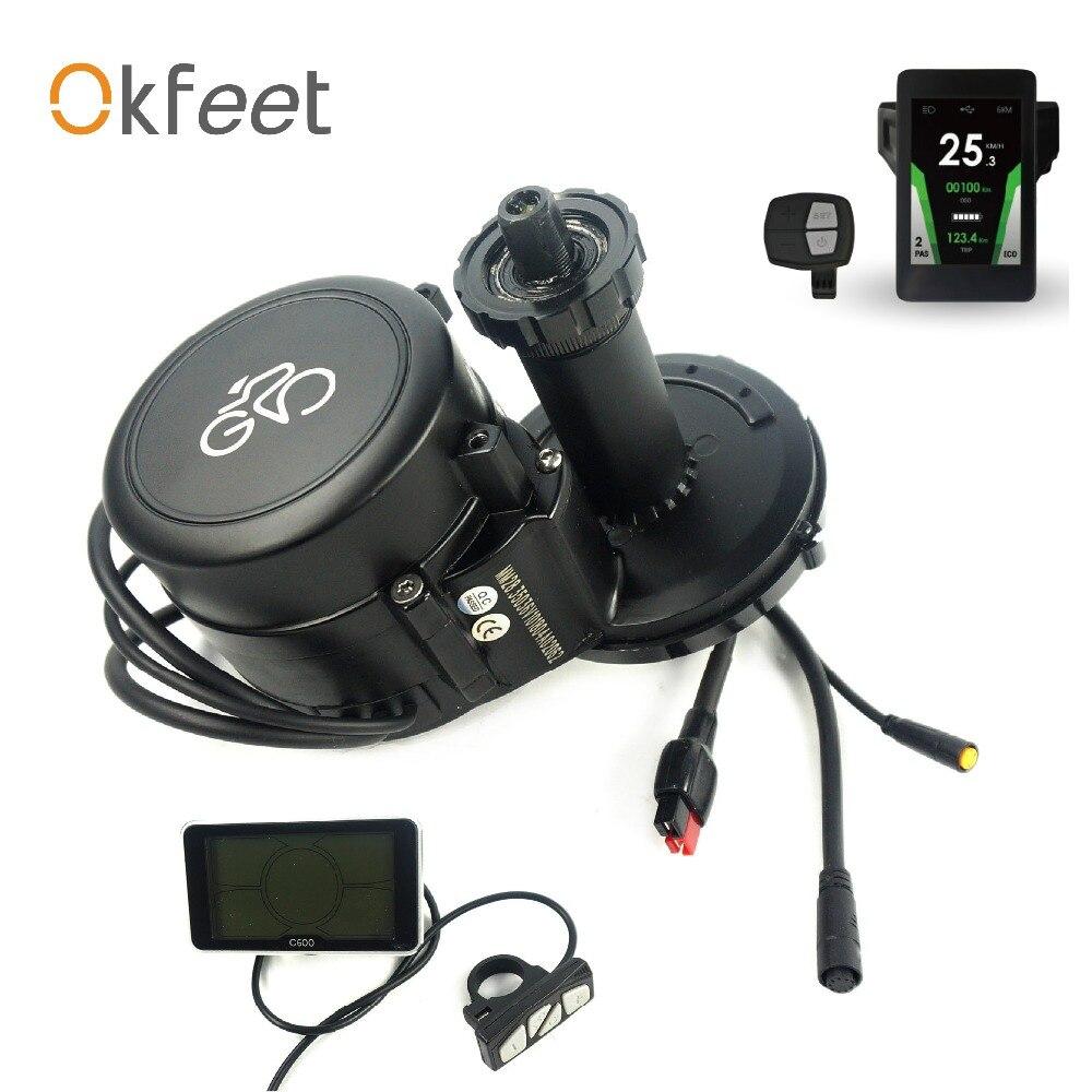 Okfeet GP Midmotor 36 v 350 w 36 V 250 W Sensore di Coppia speed integrato potente Display LCD A Colori ebike kit di conversione