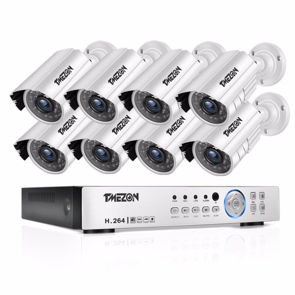 где купить TMEZON 8CH CCTV System 8PCS 720P Outdoor Weatherproof Security Camera 8CH 1080P DVR Night Vision Kit Video Surveillance System дешево