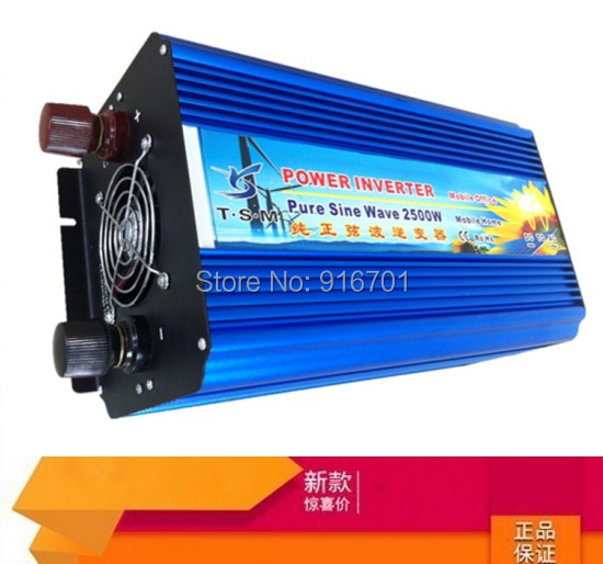 2500W DC AC Pure Sine Wave Power Inverter, 36V/60V/72V/96V/110V to 110V 115V 120V 127V 220V 230V 240V