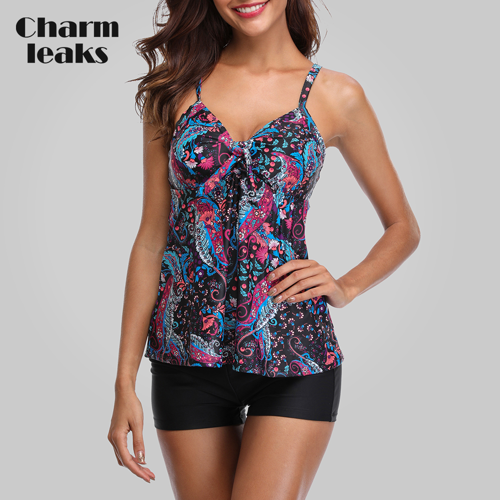 Charmleaks Tankini Set Women Swimwear Vintage Floral Print Swimsuit Padded Swimwear Bathing Suit Beach Wear Bikini