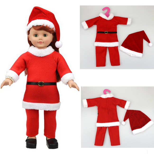 [MMMaWW] Christmas Costume clothes for 18 45cm American girl doll Santa sets with hat for Alexander doll baby girl gift toy [mmmaww] christmas costume clothes for 18 45cm american girl doll santa sets with hat for alexander doll baby girl gift toy