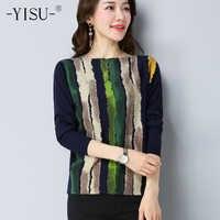 YISU sweater Women Autumn Winter Women Knitted Sweaters soft Pullover Striped Print Sweater Knitwear Jumper Sweater female