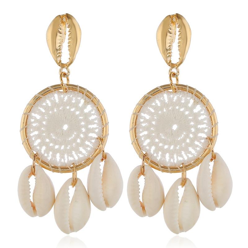 wing yuk tak fashion Shell Earrings For Women Unique Trendy Handmade Weave Drop Earrings 2019 Statement Jewelry