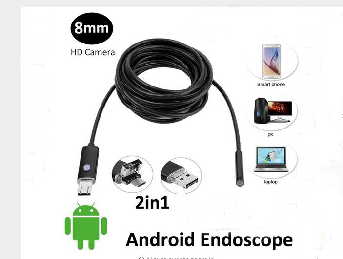 8MM Endoscope Waterproof 5M endoscope HD USB Android Camera 2IN1 Android Borescope USB Endoskop Inspection Camera 7mm lens mini usb android endoscope camera waterproof snake tube 2m inspection micro usb borescope android phone endoskop camera