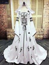 Robe De Mariage Abito Da Sposa Medievale Custom Made Abiti Da Sposa Del Ricamo Una Linea di Raso Bianco E Nero Abito Da Sposa