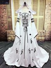 Robe De Mariage Medieval Wedding Dress Custom Made Bridal Dresses Embroidery A Line White And Black Satin Wedding Dress