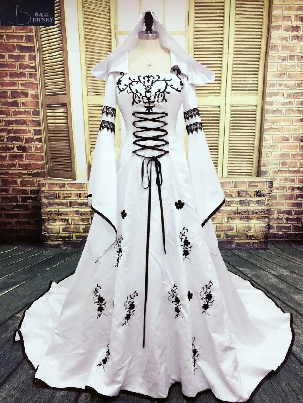 robe de mariage mittelalter brautkleid nach maß braut kleider stickerei  eine linie weiß und schwarz satin hochzeit kleid