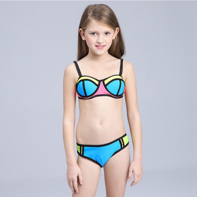 Girls Bikini Children Swimsuit Patchwork Swimwear For Teenage Girl 3-12 Years Kids Two Pieces Bathing Suits
