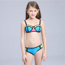 Girls Swimsuit Children Bikini Set  biquini infantil menina Girls Swimwear Teenage girl bikini kids two pieces bathing suits недорого