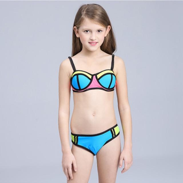M dchen bikini kinder badeanzug patchwork bademode f r teenager m dchen 3 12 jahre kinder zwei - Kleine teen indelingen meisje ...