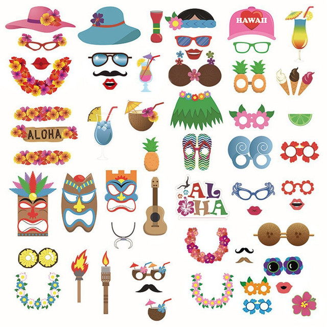 60pcs Set Party Photobooth Props Wedding Photo Booth Hawaiian For Summer Beach
