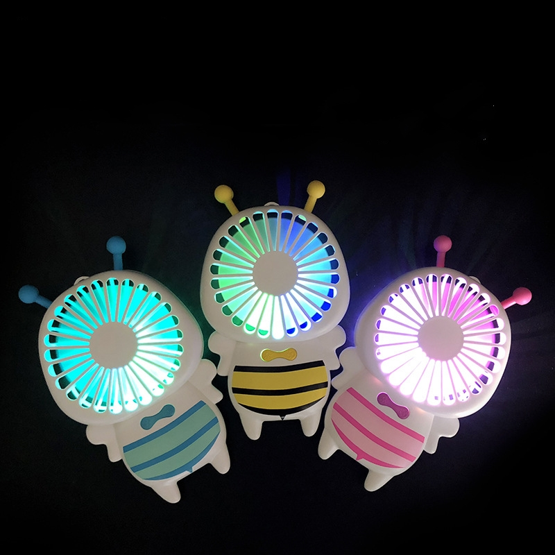Baby Bee Small Fan With 7 Colors LED Portable Ultra-Slim Mini Fan 4W Handy Quite USB Fans For Students Office Outdoor