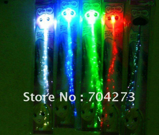 Freeshipping Colorful Flash LED Braid/Novelty Decoration for Party Holiday/Flash hair braid Extension by optical fiber