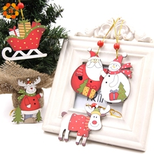 New!5PCS Multi Style Printed Christmas Wooden Pendants Ornaments Wood Craft Xmas Tree Ornament Christmas Party Decorations Gifts