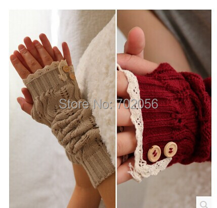 Solid Lace Knitted Fingerless Gloves Ballet Dance Button Glove Burn Out Long Arm Warmers  Fashion 7 Colors #3706