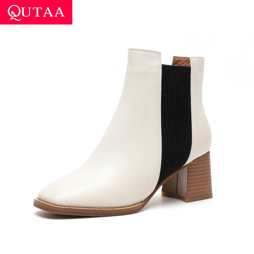 QUTAA 2020 Autumn Winter Women Slip on Square Toe Ankle Boots Cow Leather Comfort Shoes Square High Heel Short Boots Size 34-40QUTAA 2020 Autumn Winter Women Slip on Square Toe Ankle Boots Cow Leather Comfort Shoes Square High Heel Short Boots Size 34-40