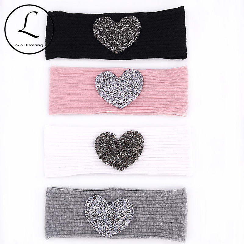 GZHIlovingL Newborn Baby Boys Girls Cotton Rhinestones Headbands Summer Solid Soft Elastic Ribbed Headwear Kids Child Hair Bands