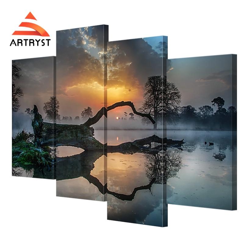 4 paneles de arte modular pared puesta de sol, lago, niebla, imagen - Decoración del hogar - foto 2