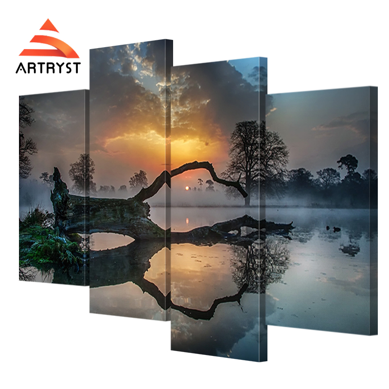 4 Panel modulare Kunst Wand Sonnenuntergang, See, Nebel, Baum - Wohnkultur - Foto 2