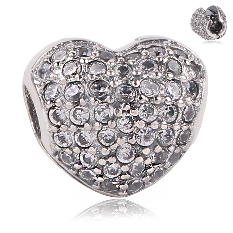Couqcy 2018 New Fits Pandora Charm Heart Clip 925 Sterling Silver Beads Lock Stopper Charm With Paved Clear Zirconia
