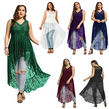 2019 new fashion  Kaguster Chiffon plus size dress women Big 5xl tops Ladies Lace blouse Tallas grandes mujer dresses