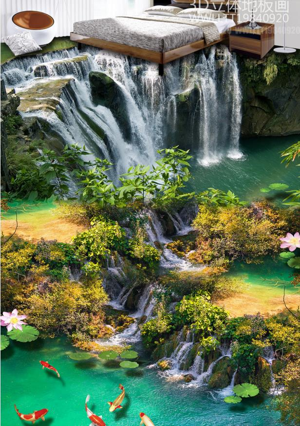 Customize wall papers home decor 3d floor Lotus carp waterfall 3d stereoscopic wallpaper 3d flooring