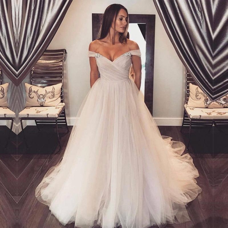 Vestido De Novia Off Shoulder Tulle Bridal Dress with Beads Pleats Ball Gown Wedding Dress 2019 Wedding Gown robes de mariee