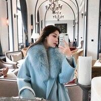 Women Winter Cashmere Coat with Real Fox Fur Collar Wool Jacket with Belt Women 2018 Fashion Cashmere Jacket Woolen Coat Female