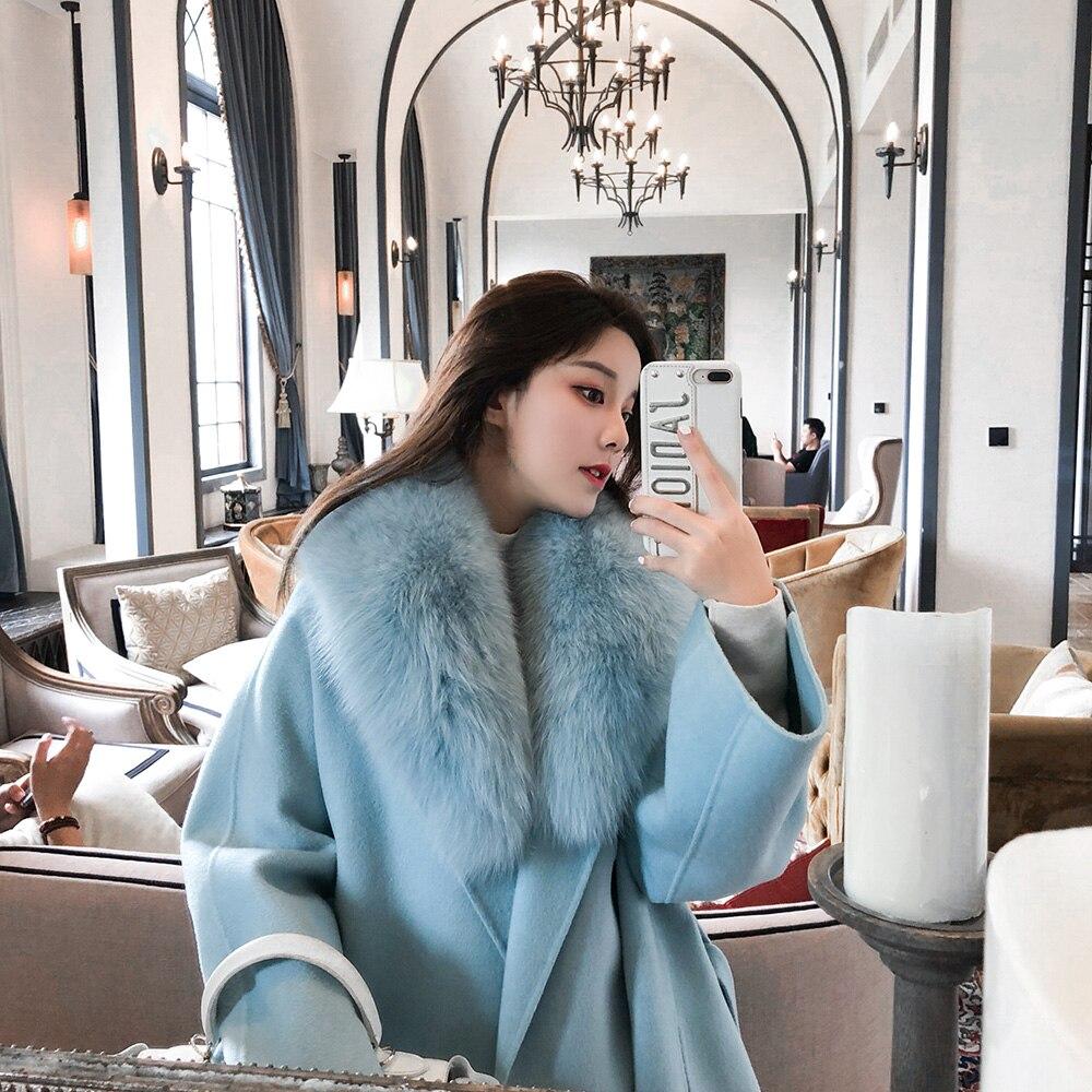 Femmes D'hiver Cachemire Manteau avec Réel Fox Col De Fourrure Laine Veste avec Ceinture Femmes 2018 De Mode Cachemire Veste De Laine Manteau femelle