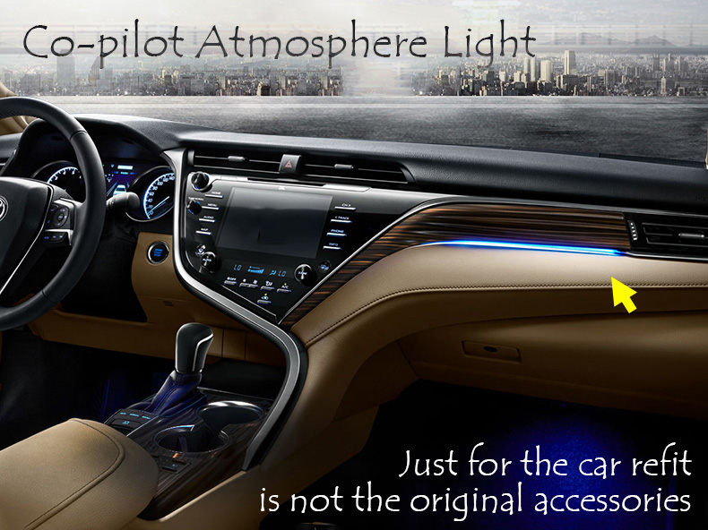 Car Refit Co pilot Atmosphere Light Lamp Interior Ambient Optical Fiber Bright Car Styling For Toyota Camry 2017 2018 XV70