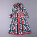 Europe And United States Spring Summer 2017 New Bow Collar Foreign Trade Women's Long Sleeved  Sun Flower Printing Dress