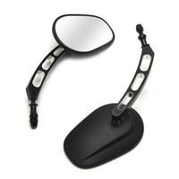 Black Edge Cut Rear View Side Mirrors For Street Bob FXDB Fat Boy Iron 883 XL883N