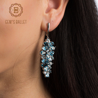 GEM S BALLET Natural London Blue Pure Topaz 925 Sterling Silver Drop Earrings Mix Gemstones Earrings