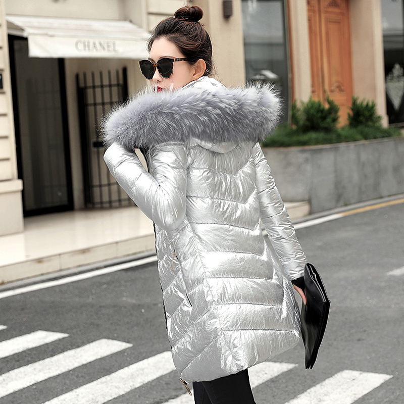 Warm Coat Jackets Short Fur-Collar Ladies Parka Silver Color-Style Women Winter Plus-Size
