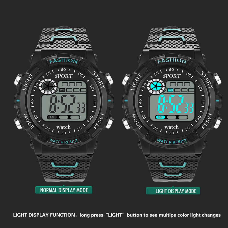 Retro Digital Sports Casual LED Watch Display Date Unisex Males Quartz Watch Electronics Men Clock Wristwatch Relogio Masculino in Digital Watches from Watches