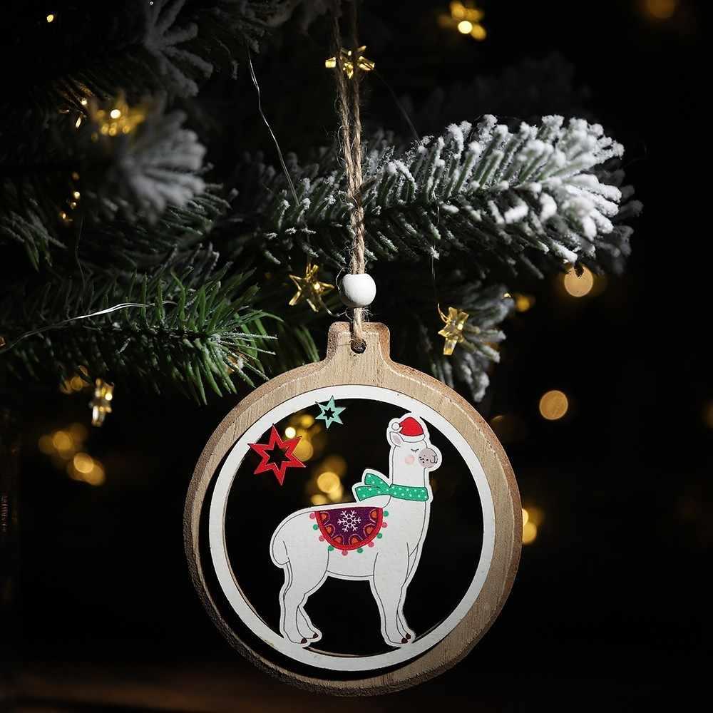 2019 neue Jahr Weihnachten Niedliche Schal Alpaka Weihnachten Baum Holz Ornamente Lanyard Anhänger Dekoration Party Häuser Anhänger Auto Anhänger