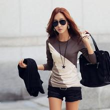 Women Long T-shirt Clothes Ropa Tee Shirt Female Camisetas Mujer Black/Brown Ladies Casual T Shirt Cotton Contrast Color