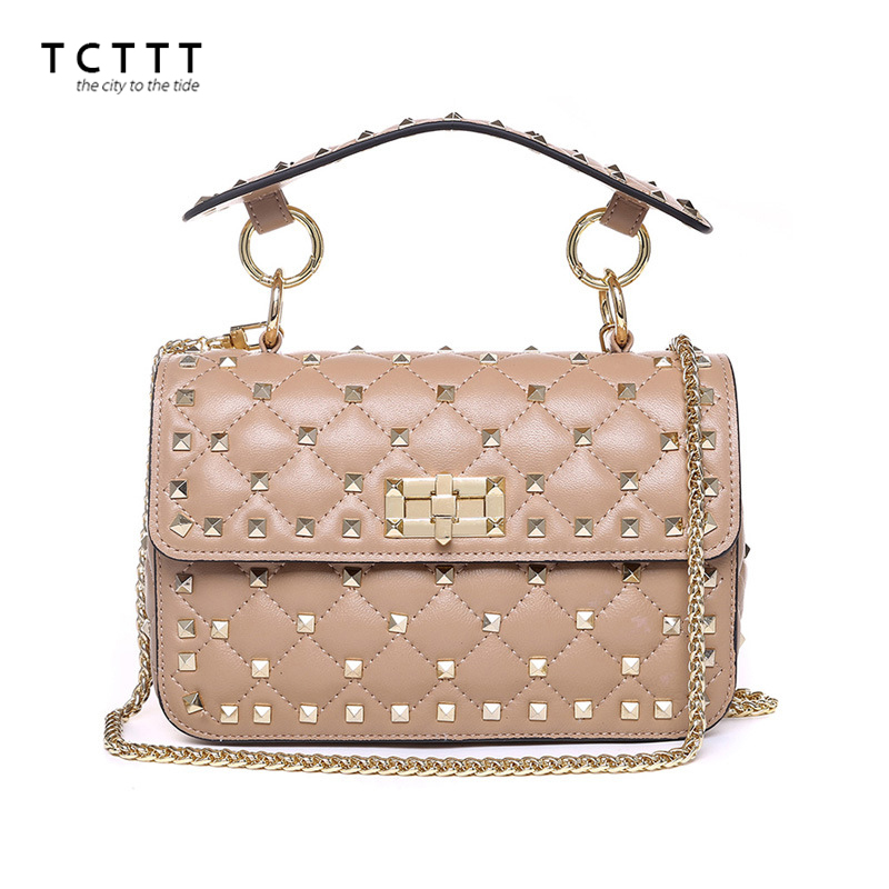 TCTTT Genuine leather Rivet Shoulder bags for women Fashion Sheepskin Female Crossbody bag Designer Clutch totes Bolsas Feminina tcttt luxury handbags women bags designer fashion women s leather shoulder bag high quality rivet brand crossbody messenger bag