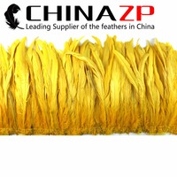 CHINAZP Feathers Retail Sale 10 to 12 inch Feather Length Yellow Strung Natural Dyed Coque Tails Feathers For Dress Design