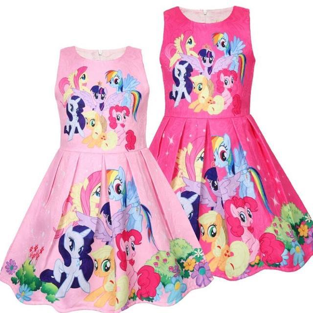 תינוק בנות שמלות ילדי קיץ אופנה קריקטורה קטן פוני שמלות ילדים מכירה לוהטת חמוד סוס נסיכת מסיבת בגדי 3-7Years
