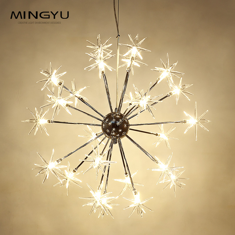 Lustres modernes lampe verre étoiles Suspension noël neige lumière hôtel Restaurant salle à manger salon éclairage - 2