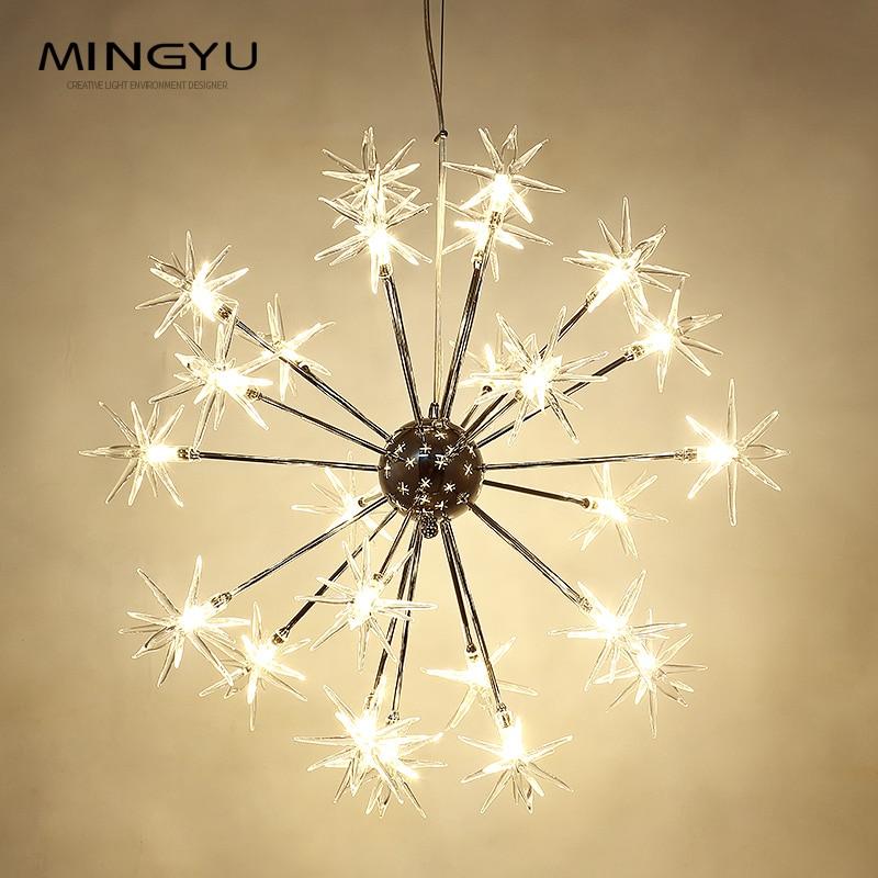 Modern Chandeliers Lamp Glass Stars Suspension Christmas Snow Light Hotel Restaurant Dinning Room Living Room Lighting - 2