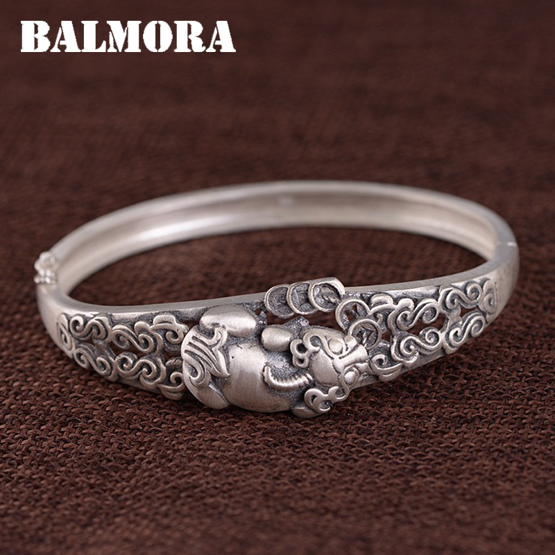 BALMORA Solid 990 Pure Silve Brave Troops Animal & Cloud Bracelet For Women Lover Thai Silver Fashion Vintage Jewelry WBH0359BALMORA Solid 990 Pure Silve Brave Troops Animal & Cloud Bracelet For Women Lover Thai Silver Fashion Vintage Jewelry WBH0359
