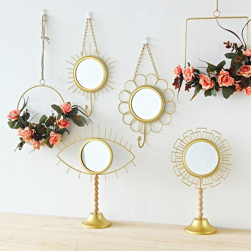 Romantisch Nordic Iron Spiegel Haken Creatieve Multifunctionele Handgemaakte Geometrische Metalen Handwerk Woonkamer Muur Moderne Decoratieve Spiegels