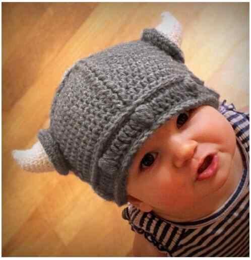 Детская шапка ручной работы в стиле воина викингов, вязаная крючком Шапка-бини, шлем для новорожденных, реквизит для фотосъемки, рождественский подарок для детей 0-12 месяцев
