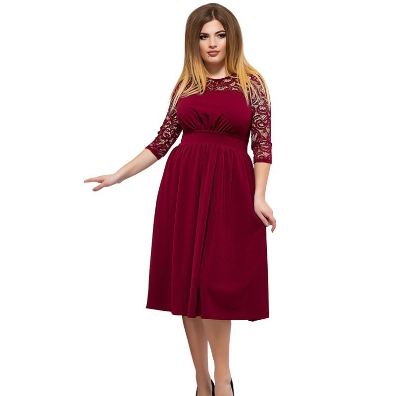 Red Christmas Dress Plus Size Women Lace Dress Elegant ...