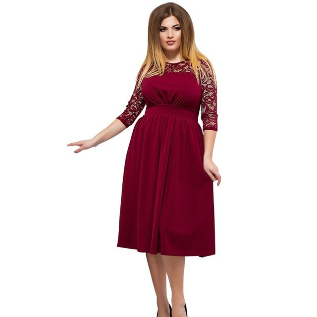 Red Christmas Dress Plus Size Women Lace Dress Elegant Winter Dress