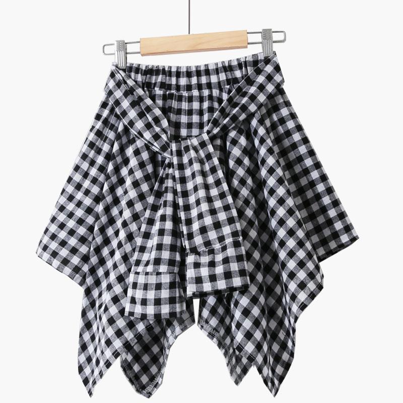 New Women Vintage Irregularity Skirt 2019 Summer Fashion Basic Elastic Waist Casual Plaid Mini Skirts Clothes