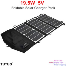 Tutuo 19.5W Solar Charger Pack Foldable Panel Fast Dual USB Ports Portable Travel Solar Power for ipad iPhone Samsung Huawei